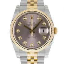 Rolex DATEJUST 36 Steel Yellow Gold Grey Diamond Dial
