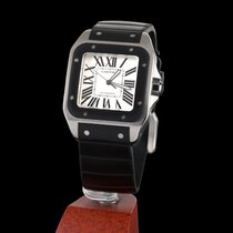 Cartier santos 100 black  steel and rubber automatic