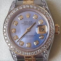 Rolex Ladies Datejust Two Tone Mother Of Pearl Diamond Dial...
