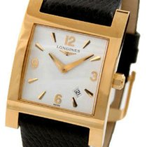 Longines Dolce Vita 18k Gold Square Mens Strap Watch Calendar...