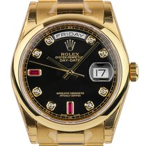 Rolex Day-Date 36mm Yellow Gold Black/Diamond President 118208