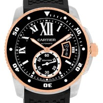Cartier Calibre Diver Steel Rose Gold Rubber Strap Mens Watch...