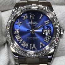 Rolex Datejust 41mm Blue Diamond Dial Diamonds Bezel