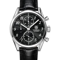 TAG Heuer Carrera 16 Heritage Chronograph Black Dial,Alligator...