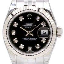Rolex Datejust Ladies Small 179174-BLKDFJ Black Diamond White...