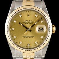 Rolex S/Steel & 18k Y/G Champagne Diamond Dial Datejust...