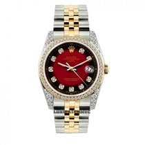 Rolex Date Unisex 34mm Black And Red Dial Stainless Steel And...