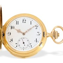 Pocket watch: fine 18 K gold hunting case minute repeater,...