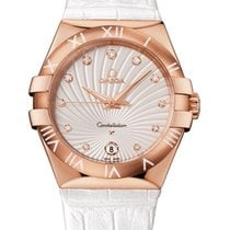 Omega Constellation Quartz 35mm Watch Red Gold on Leather Strap