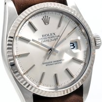 Rolex Steel 36mm Datejust Silver Dial Brown Leather NATO...