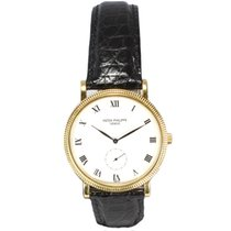 Patek Philippe Calatrava 18ct Yellow Gold Gents Watch Alligato...