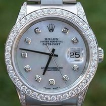 Rolex Watch Mens 36mm Datejust Stainless Steel Diamond Dial...