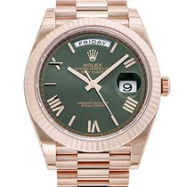 Rolex Day-Date 40 Green Dial Rose Gold Automatic Men's Watch