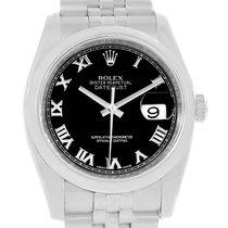 Rolex Datejust Steel Black Roman Dial Jubilee Bracelet Watch...