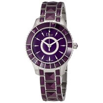 Dior New Christal Purple Diamond Dial Ladies Watch