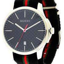 Gucci G Timeless LG Slim Black DIA Pattern Dial Nylon Band Men...