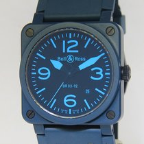 벨앤로스 (Bell & Ross) Aviation Military Blue Ceramic Mens...