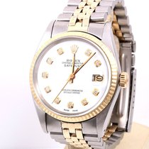 Rolex Mens 14K/SS Datejust White Diamond Dial, Jubilee Band,...