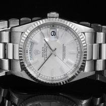 Rolex 18239 18K WG Day-Date - Silver Stick Dial & Fluted...