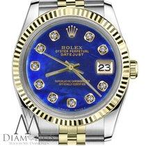 Rolex Small Size Rolex 26mm Datejust 18k Gold 2tone Blue...