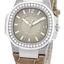 "Patek Philippe Lady's 18K White Gold  Diamond ""Nautilu..."