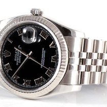Rolex Mens New Style 116234 Datejust - Black Roman Dial -...