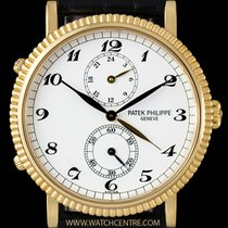 Patek Philippe 18k Yellow Gold White Arabic Dial Travel Time...