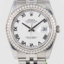 Rolex Datejust White Roman Dial 18k White Gold Diamond Bezel
