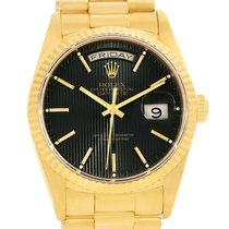 Rolex President Day-date Yellow Gold Black Tapestry Dial Watch...
