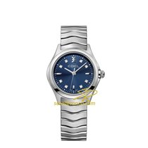 Ebel Wave 30mm Lady Steel Bracelet, Blue Dial, Diamonds