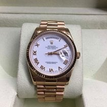 Rolex Day-Date 36 18K Everose Gold/White Roman Dial