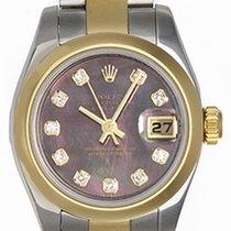 Rolex Ladies Rolex 2-tone Datejust Watch Smooth Gold Bezel 179163