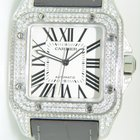 Cartier Santos 100 Steel,Aftermarket setted diamonds,Unworn