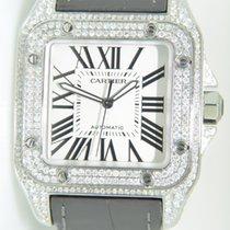 Cartier Santos 100 Steel,Aftermarket setted diamonds,Unworn