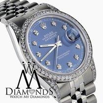 Rolex Datejust 36mm Stainless Steel Light Blue Diamond Dial...
