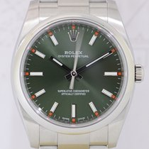 Rolex Oyster Perpetual green Olive dial Oyster Steel rehaut...