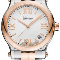 Chopard 278582-6002 Happy Sport Round Quartz in Steel and Rose...