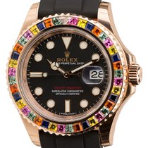 Rolex Yacht Master 18k Rose Gold with Custom Multicolor Gem...