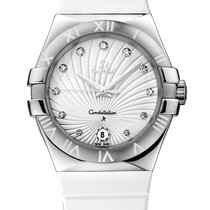 Omega Constellation Quartz 35mm Watch Steel on Rubber Strap