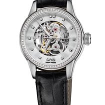 Oris Artelier Skeleton Diamonds Steel 31mm Leather Bracelet