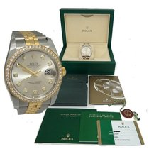 Rolex Mens Two Tone Rolex Datejust Factory Original Diamond...