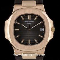 Patek Philippe 18k Rose Gold Black-Brown Dial Nautilus Gents...
