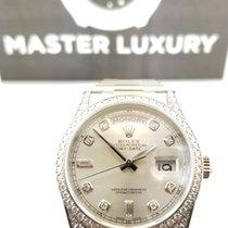 Rolex Day-Date 118389 Slvr Diam Dial Diam Bezel and Lugs WG