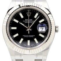 Rolex Datejust II 116334 Black Index Fluted 18k White Gold...
