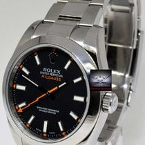 Rolex Milgauss Stainless Steel Black Dial Mens Watch Box/Tags/...