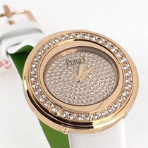 Piaget Possession watch pink gold diamond white strap 37189 NEW
