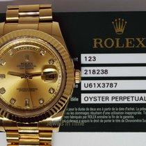 Rolex Day-Date II 18k Yellow Gold Mens Watch Diamond Dial...