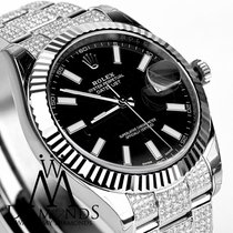 Rolex Date Just Two With Custom Diamond Bracelet Flutted White...
