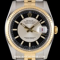 Rolex S/Steel & 18k Yellow Gold Black/Silver Dial Datejust...