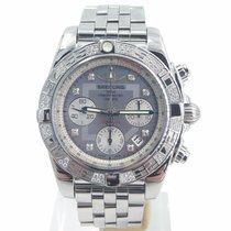 Breitling Chronomat 41 Chronograph Diamond Bezel Diamond Mop...
